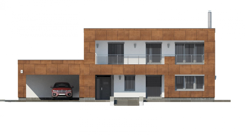 Pohľad 1. - Moderný poschodový dom s plochou strechou a prístreškom pre autá. Vhodný na úzky pozemok. Je možnosť realizovať bez prístrešku, prípadne prístrešok upraviť na garáž.