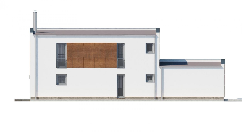 Pohľad 3. - Moderný poschodový dom s plochou strechou a prístreškom pre autá. Vhodný na úzky pozemok. Je možnosť realizovať bez prístrešku, prípadne prístrešok upraviť na garáž.