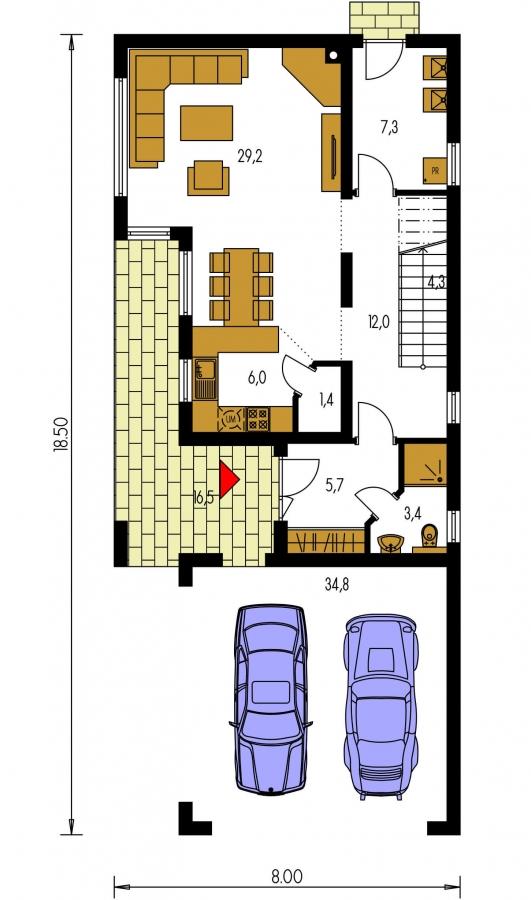 Pôdorys Prízemia - Moderný poschodový dom s plochou strechou a prístreškom pre autá. Vhodný na úzky pozemok. Je možnosť realizovať bez prístrešku, prípadne prístrešok upraviť na garáž.