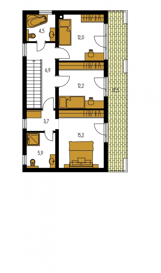 Pôdorys Poschodia - Moderný poschodový dom s plochou strechou a prístreškom pre autá. Vhodný na úzky pozemok. Je možnosť realizovať bez prístrešku, prípadne prístrešok upraviť na garáž.