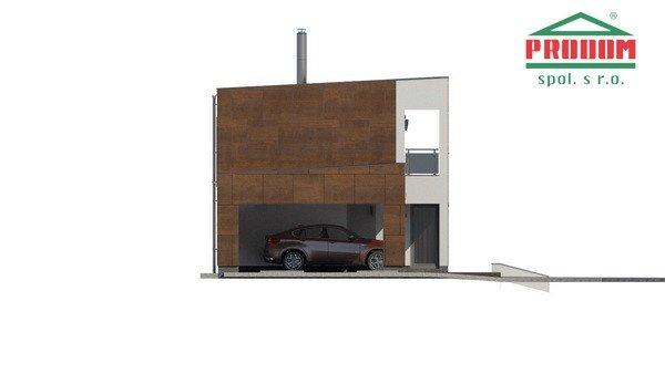 Pohľad 1. - Moderný poschodový dom s plochou strechou a prístreškom pre autá, vhodný na úzky pozemok, dá sa realizovať bez prístrešku, prípadne ho upraviť na garáž
