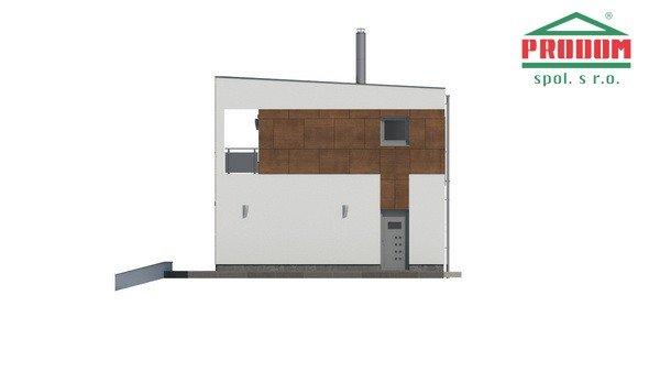 Pohľad 2. - Moderný poschodový dom s plochou strechou a prístreškom pre autá, vhodný na úzky pozemok, dá sa realizovať bez prístrešku, prípadne ho upraviť na garáž