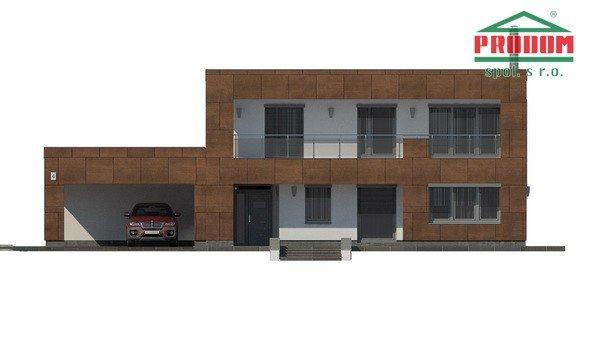 Pohľad 3. - Moderný poschodový dom s plochou strechou a prístreškom pre autá, vhodný na úzky pozemok, dá sa realizovať bez prístrešku, prípadne ho upraviť na garáž