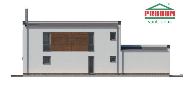 Pohľad 4. - Moderný poschodový dom s plochou strechou a prístreškom pre autá, vhodný na úzky pozemok, dá sa realizovať bez prístrešku, prípadne ho upraviť na garáž