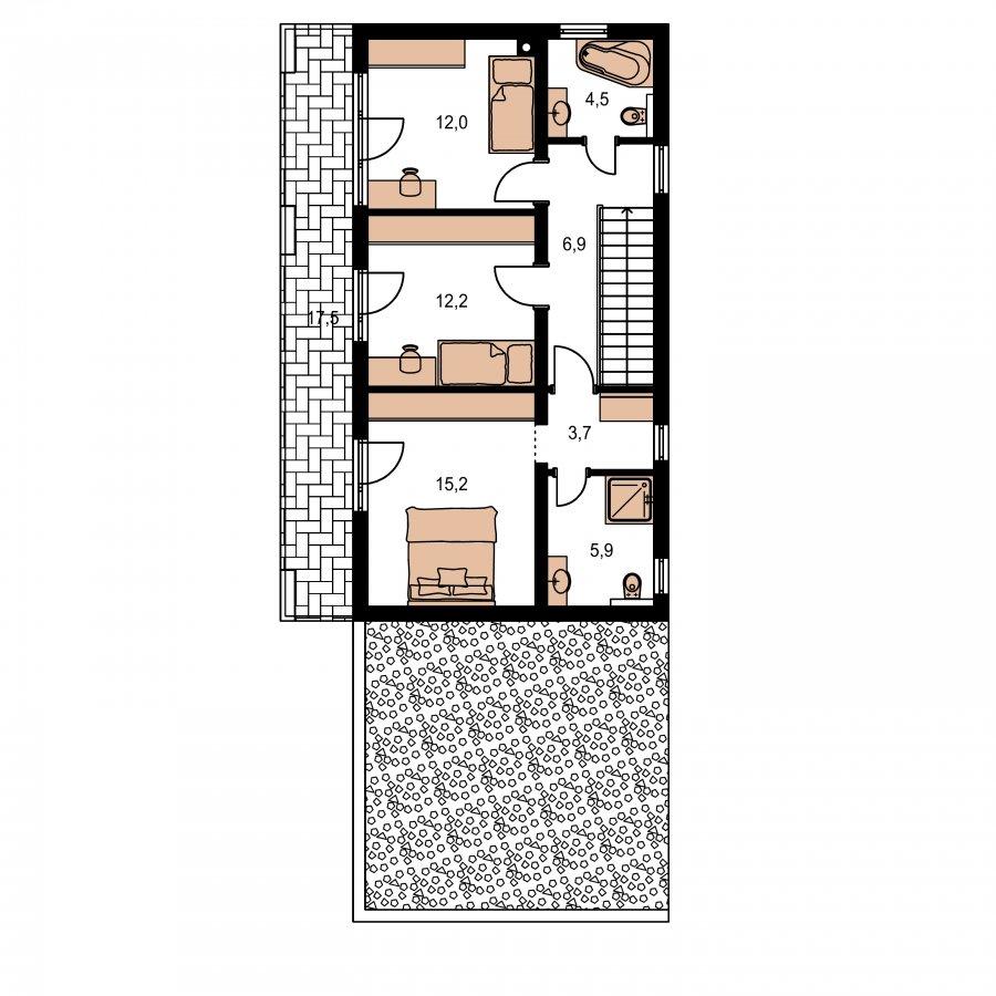 Pôdorys Poschodia - Moderný poschodový dom s plochou strechou a prístreškom pre autá, vhodný na úzky pozemok, dá sa realizovať bez prístrešku, prípadne ho upraviť na garáž