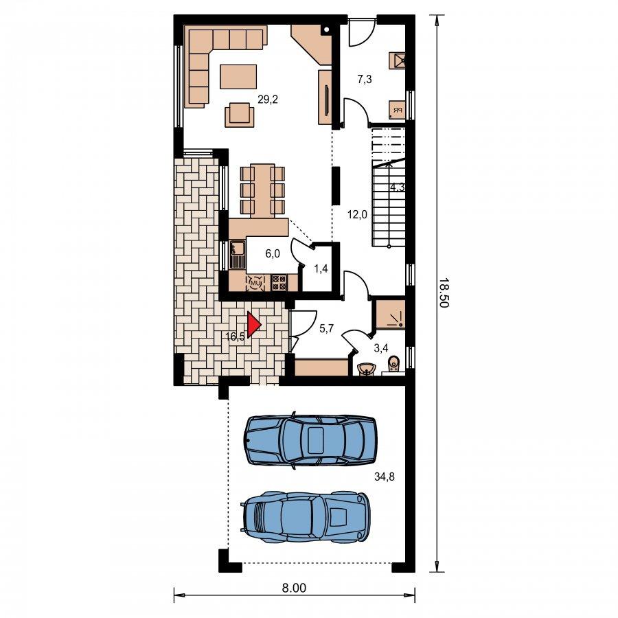 Pôdorys Prízemia - Moderný poschodový dom s plochou strechou a prístreškom pre autá, vhodný na úzky pozemok, dá sa realizovať bez prístrešku, prípadne ho upraviť na garáž