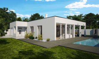 Rodinný dom do tvaru L s garážou, s plochou rovnou strechou.