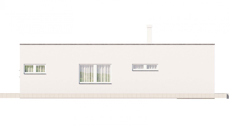 Pohľad 4. - Rodinný dom do tvaru L s garážou, s plochou rovnou strechou, možnosť zrealizovať aj valbovú strechu