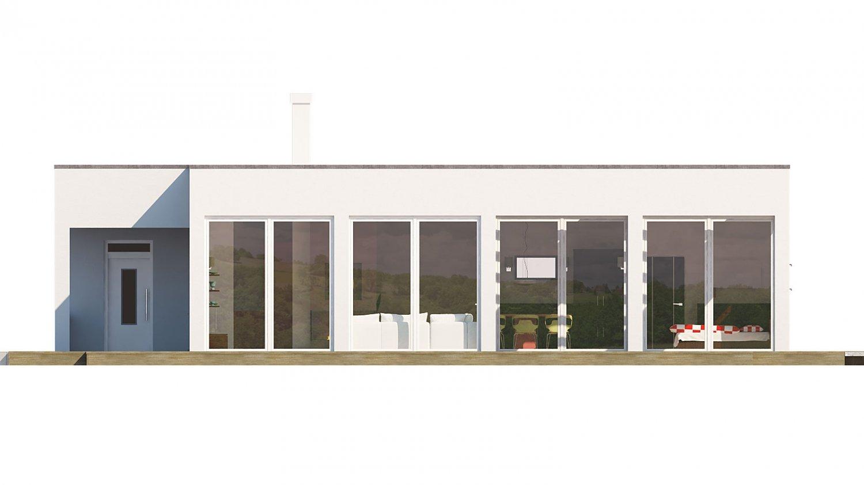 Pohľad 2. - Rodinný dom do tvaru L s garážou, s plochou rovnou strechou, možnosť zrealizovať aj valbovú strechu