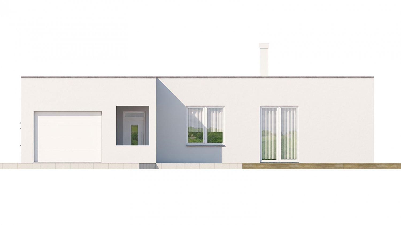 Pohľad 1. - Rodinný dom do tvaru L s garážou, s plochou rovnou strechou, možnosť zrealizovať aj valbovú strechu