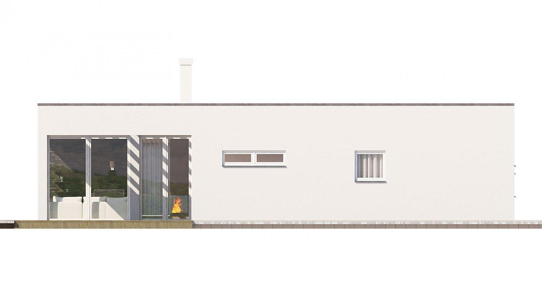 Pohľad 3. - Rodinný dom do tvaru L s garážou, s plochou rovnou strechou, možnosť zrealizovať aj valbovú strechu