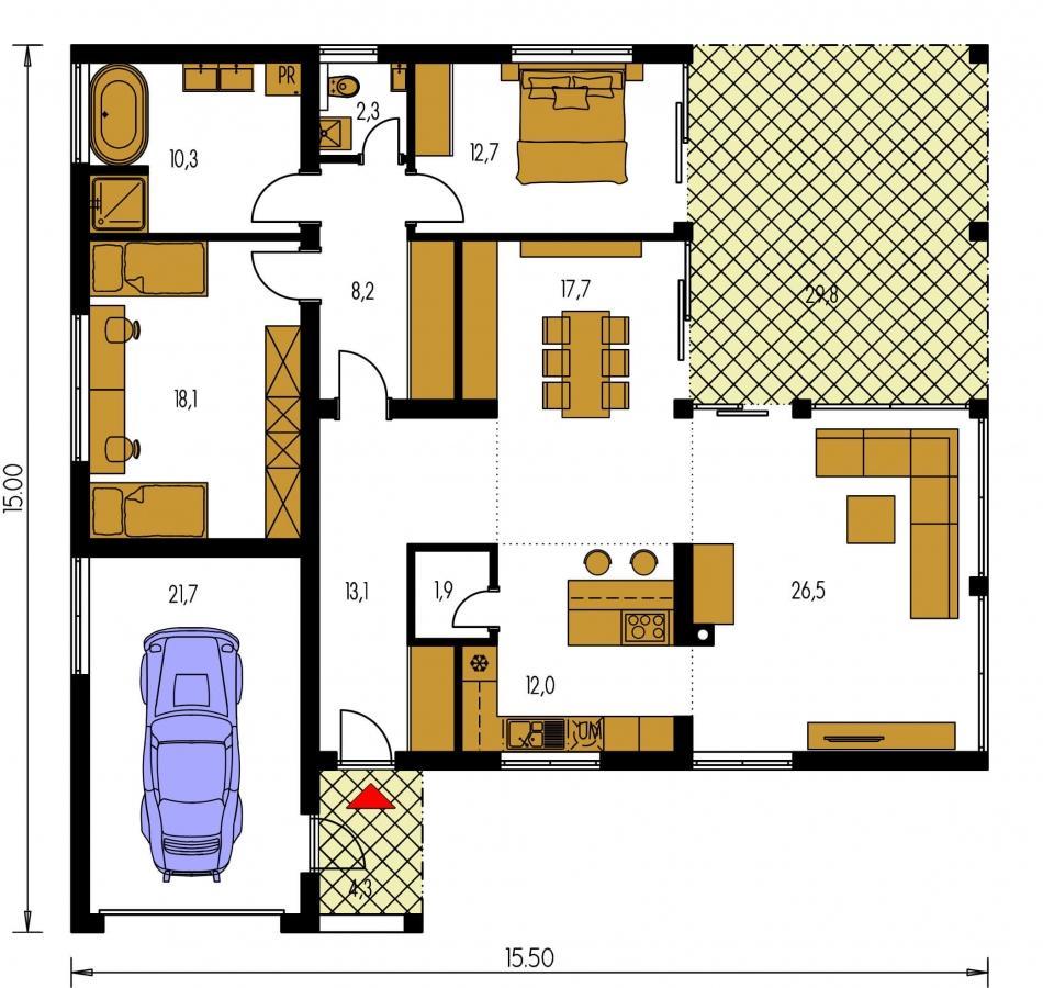 Pôdorys Prízemia - Rodinný dom do tvaru L s garážou, s plochou rovnou strechou, možnosť zrealizovať aj valbovú strechu