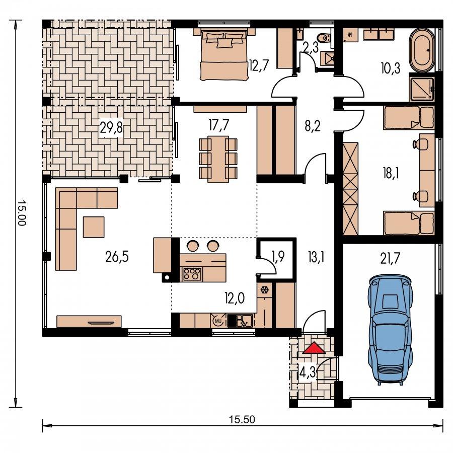 Pôdorys Prízemia - Rodinný dom do tvaru L s garážou, s oddelenou dennou a nočnou časťou a krbom v strede obytnej časti. Možnosť zrealizovať valbovú strechu