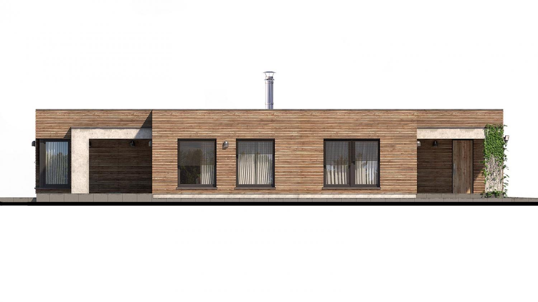 Pohľad 4. - Luxusný 4-izbový murovaný dom s dvojgarážou, plochou rovnou strechou.