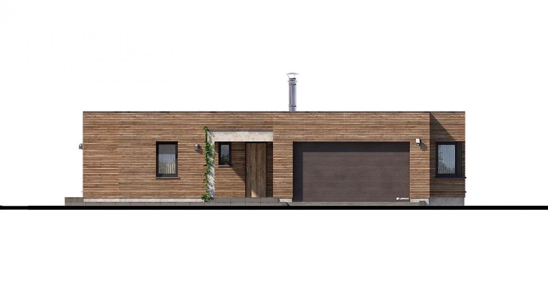 Pohľad 1. - Luxusný 4-izbový murovaný dom s dvojgarážou, plochou rovnou strechou.