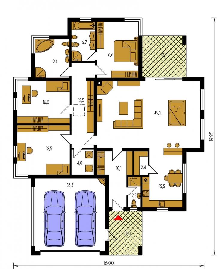 Pôdorys Prízemia - Luxusný 4-izbový murovaný dom s dvojgarážou, plochou rovnou strechou.