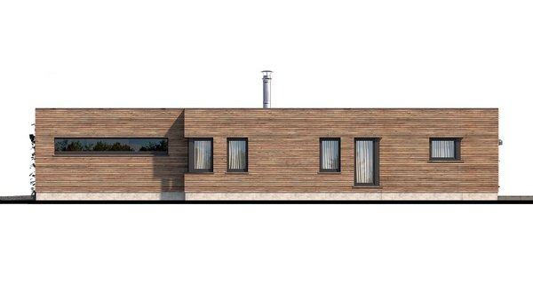 Pohľad 3. - Luxusný 4-izbový murovaný dom s dvojgarážou, plochou strechou a oddelenou dennou a nočnou časťou