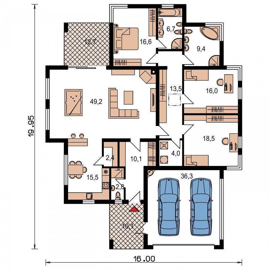 Pôdorys Prízemia - Luxusný 4-izbový murovaný dom s dvojgarážou, plochou strechou a oddelenou dennou a nočnou časťou