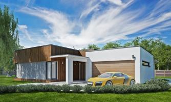 Moderný dom murovaný s dvojgarážou, plochou strechou a krytou terasou.