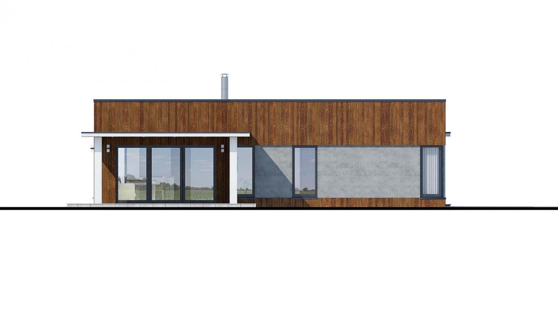Pohľad 4. - Moderný dom murovaný s dvojgarážou, plochou strechou a krytou terasou, dá sa zrealizovať aj s valbovou strechou