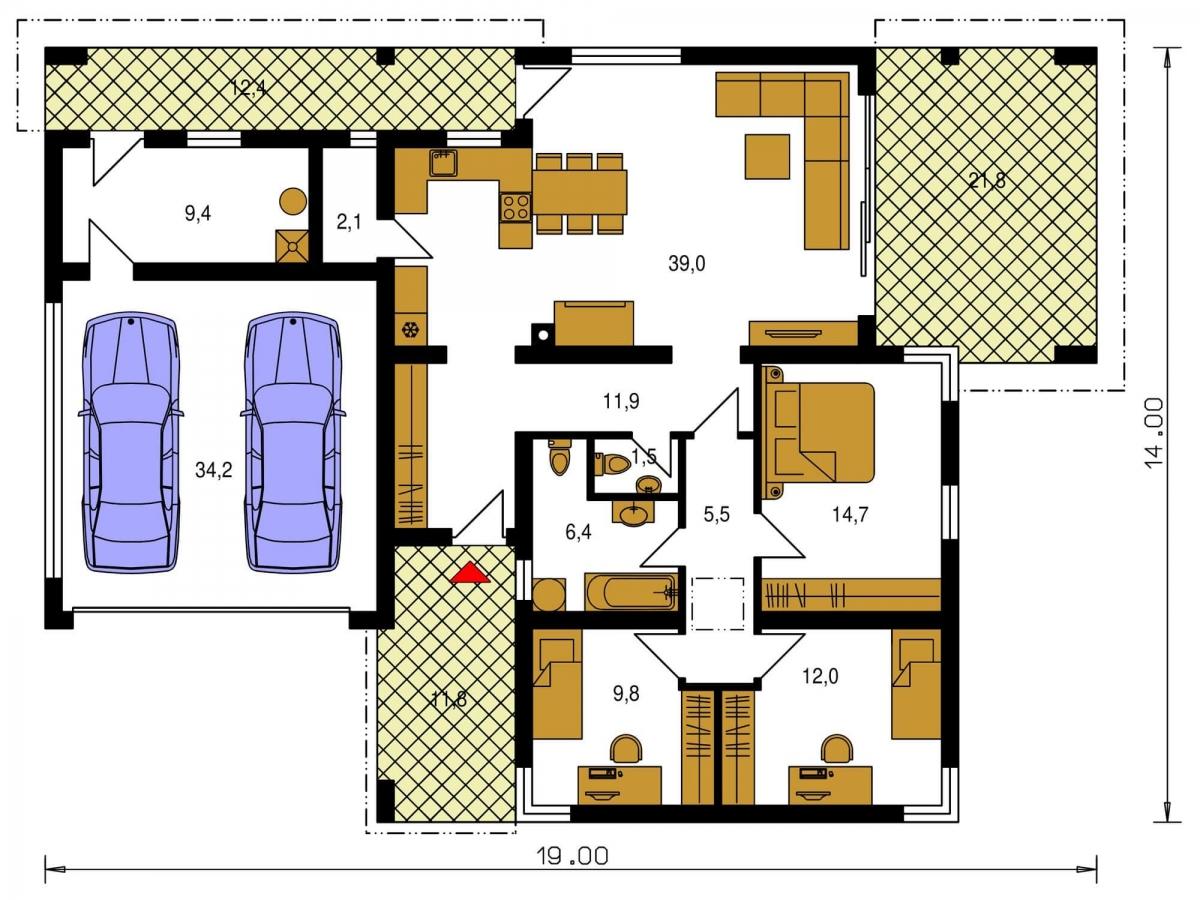Pôdorys Prízemia - Moderný dom murovaný s dvojgarážou, plochou strechou a krytou terasou, dá sa zrealizovať aj valbová strecha