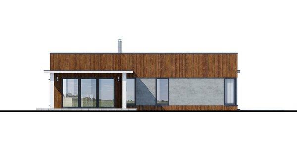 Pohľad 1. - Moderný dom murovaný s dvojgarážou, plochou strechou a krytou terasou, dá sa zrealizovať aj valbová strecha