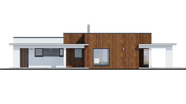 Pohľad 2. - Moderný dom murovaný s dvojgarážou, plochou strechou a krytou terasou, dá sa zrealizovať aj valbová strecha