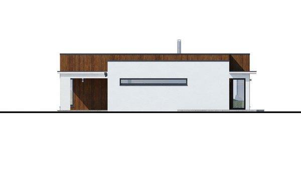 Pohľad 3. - Moderný dom murovaný s dvojgarážou, plochou strechou a krytou terasou, dá sa zrealizovať aj valbová strecha