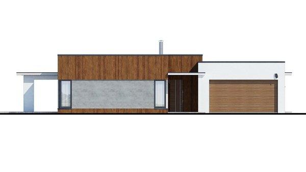Pohľad 4. - Moderný dom murovaný s dvojgarážou, plochou strechou a krytou terasou, dá sa zrealizovať aj valbová strecha