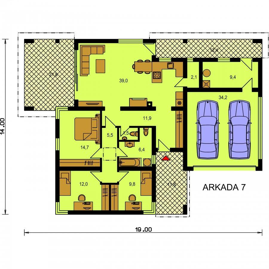 Pôdorys Prízemia - Moderný dom s dvoj garážou a terasou
