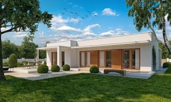 Luxusný 4 - izbový rodinný dom s plochou rovnou strechou a krytým stáním. Obytná časť je orientovaná do záhrady na terasu.