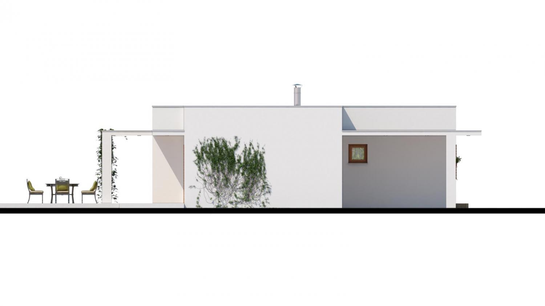 Pohľad 4. - Luxusný 4 - izbový rodinný dom s plochou rovnou strechou, krytým stáním, možná realizácia s valbovou strechou, obytná časť je orientovaná do záhrady na terasu