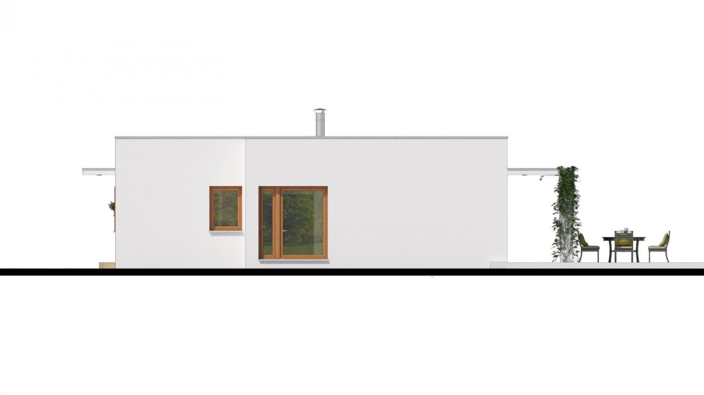 Pohľad 2. - Luxusný 4 - izbový rodinný dom s plochou rovnou strechou, krytým stáním, možná realizácia s valbovou strechou, obytná časť je orientovaná do záhrady na terasu