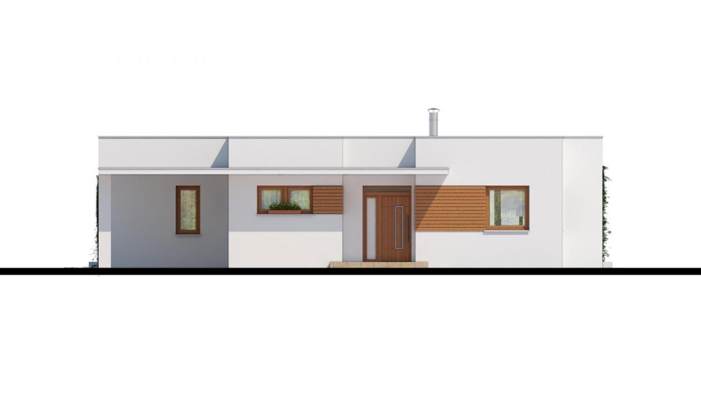 Pohľad 1. - Luxusný 4 - izbový rodinný dom s plochou rovnou strechou, krytým stáním, možná realizácia s valbovou strechou, obytná časť je orientovaná do záhrady na terasu