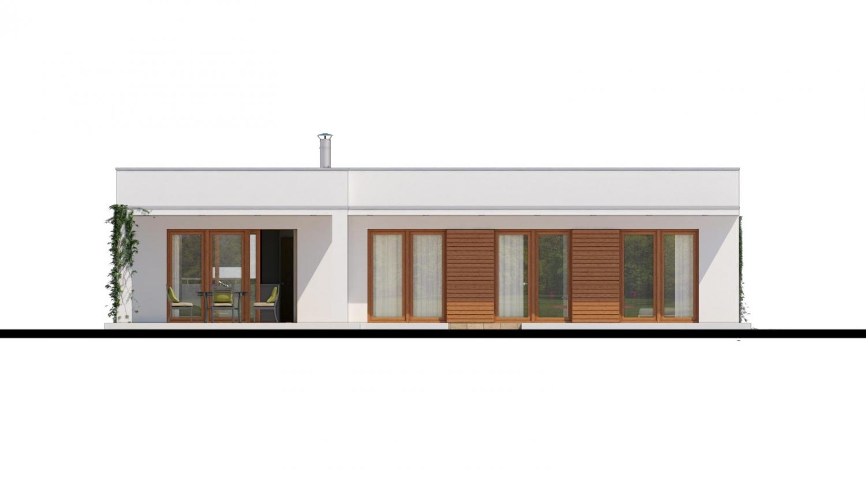 Pohľad 3. - Luxusný 4 - izbový rodinný dom s plochou rovnou strechou, krytým stáním, možná realizácia s valbovou strechou, obytná časť je orientovaná do záhrady na terasu
