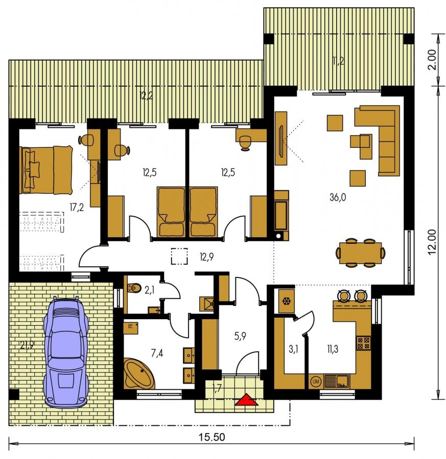 Pôdorys Prízemia - Luxusný 4 - izbový rodinný dom s plochou rovnou strechou, krytým stáním, možná realizácia s valbovou strechou, obytná časť je orientovaná do záhrady na terasu