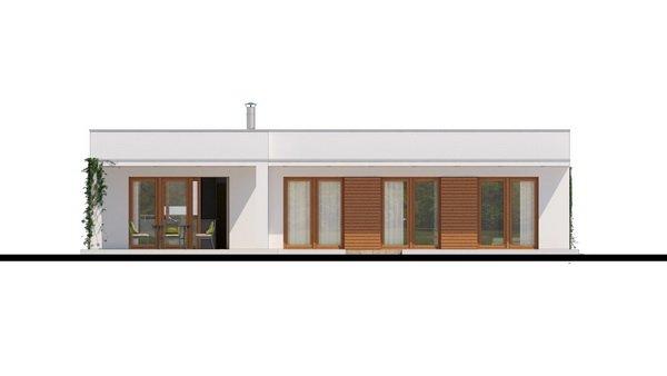 Pohľad 4. - Luxusný rodinný dom s krytým stáním, obytná časť je orientovaná do záhrady na terasu