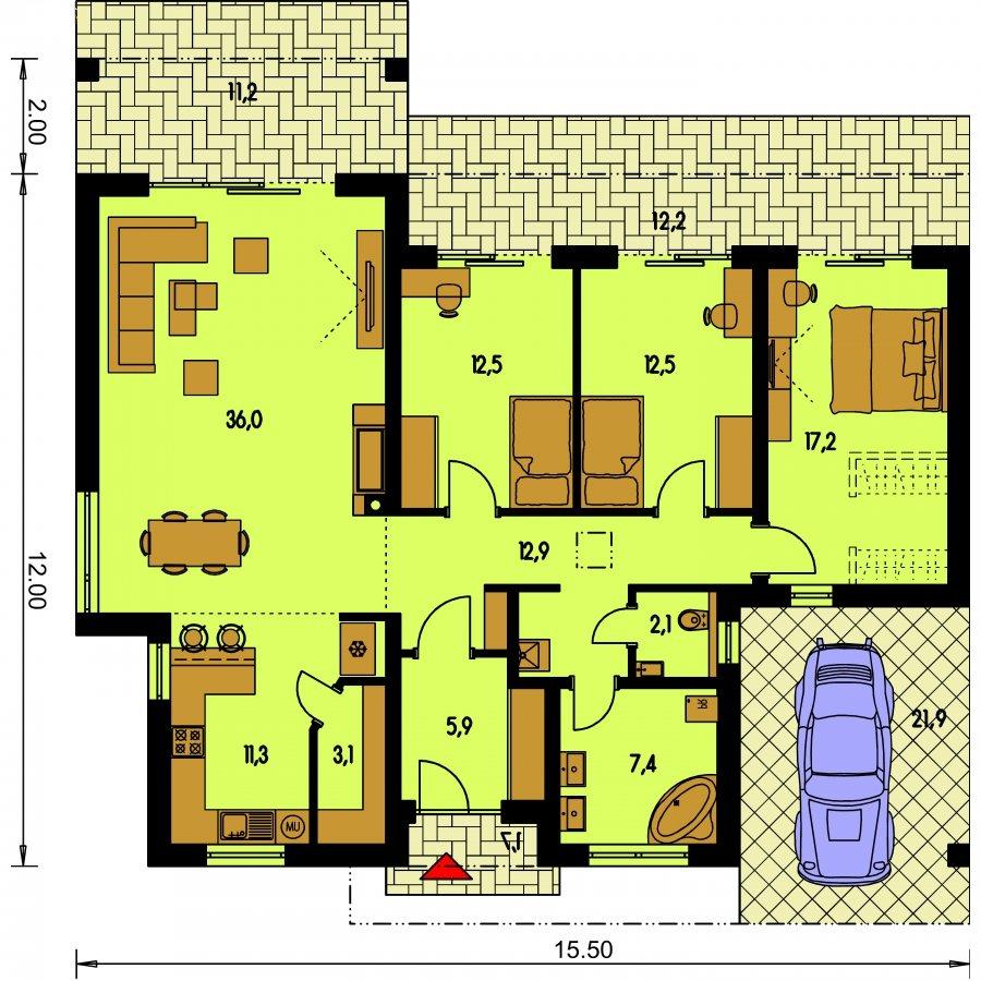 Pôdorys Prízemia - Luxusný rodinný dom s krytým stáním, obytná časť je orientovaná do záhrady na terasu