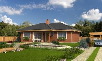 Prízemný dom s čelným vstupom. Pri bočnom vstupe sa dá zmeniť poloha okien v izbách. Dom patrí medzi menšie projekty domov.