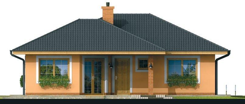Pohľad 1. - Prízemný dom s čelným vstupom. Pri bočnom vstupe sa dá zmeniť poloha okien v izbách. Dom patrí medzi menšie projekty domov.