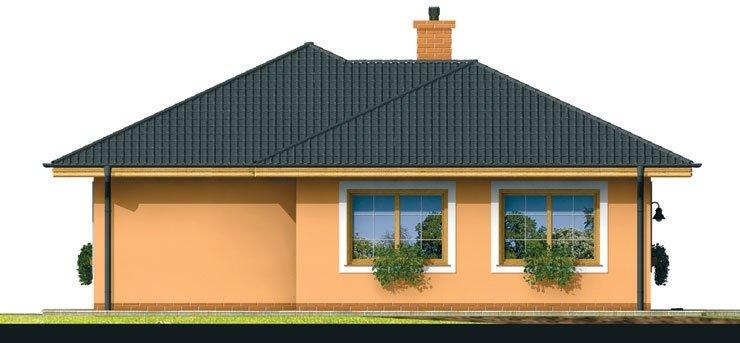 Pohľad 4. - Prízemný dom s čelným vstupom. Pri bočnom vstupe sa dá zmeniť poloha okien v izbách. Dom patrí medzi menšie projekty domov.