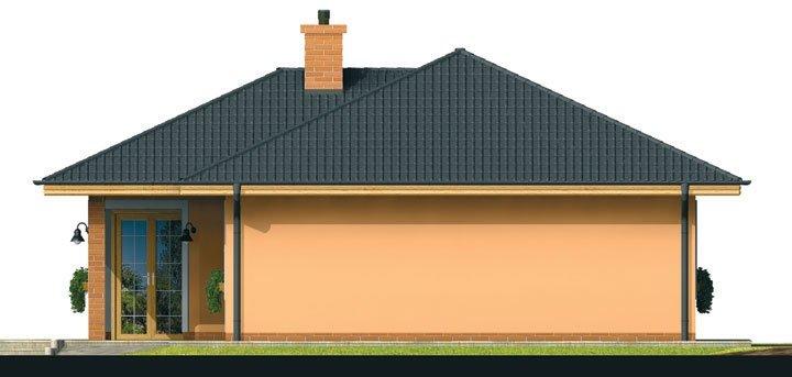 Pohľad 2. - Prízemný dom s čelným vstupom. Pri bočnom vstupe sa dá zmeniť poloha okien v izbách. Dom patrí medzi menšie projekty domov.