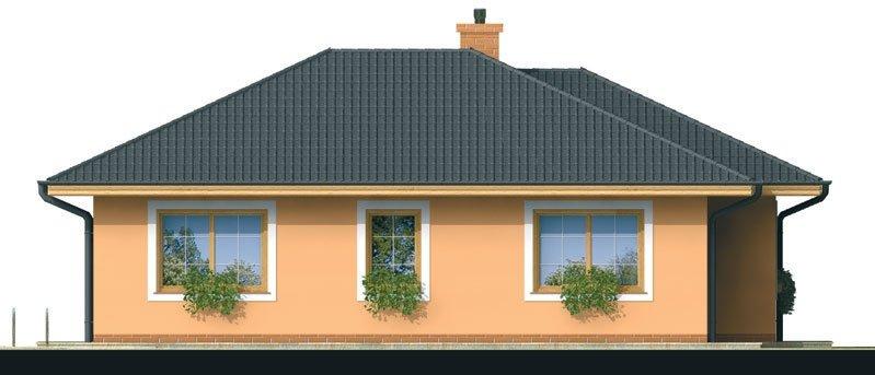 Pohľad 3. - Prízemný dom s čelným vstupom. Pri bočnom vstupe sa dá zmeniť poloha okien v izbách. Dom patrí medzi menšie projekty domov.
