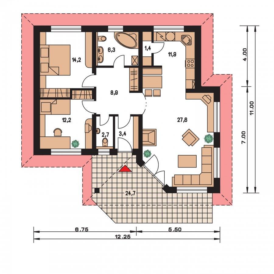 Pôdorys Prízemia - Prízemný dom s čelným vstupom. Pri bočnom vstupe sa dá zmeniť poloha okien v izbách. Dom patrí medzi menšie projekty domov.