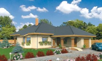 Projekt rodinného domu s jednogarážou a podkrovím. Dom je v tvare do L.
