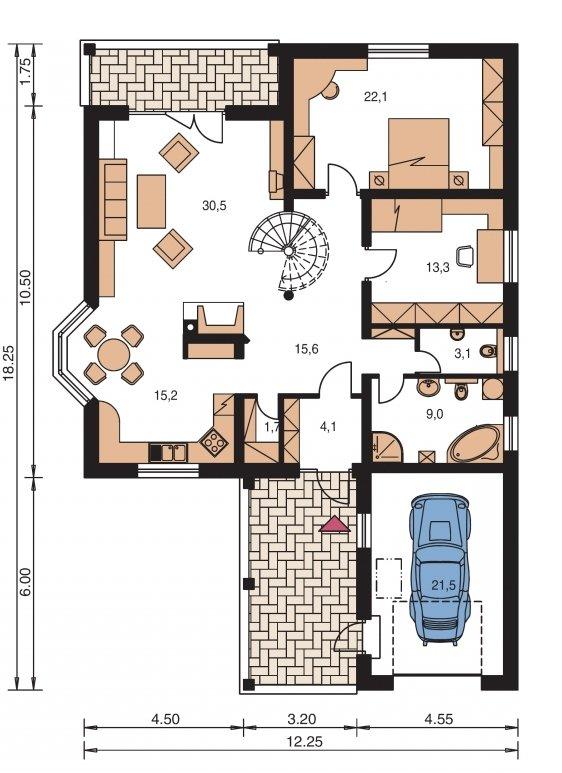 Pôdorys Prízemia - Projekt rodinného domu s jednogarážou a podkrovím, ktoré si môžete ľubovoľne zariadiť. Dom je v tvare do L.