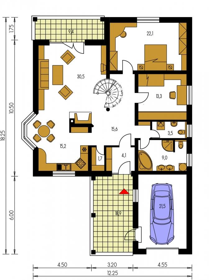 Pôdorys Prízemia - Projekt rodinného domu s jednogarážou a podkrovím. Dom je v tvare do L.