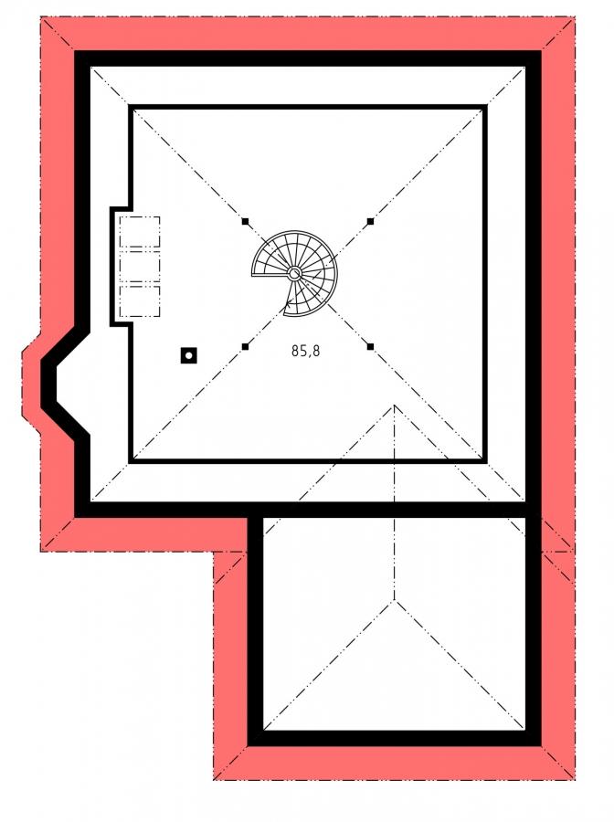 Pôdorys Poschodia - Projekt rodinného domu s jednogarážou a podkrovím, ktoré si môžete ľubovoľne zariadiť. Dom je v tvare do L.