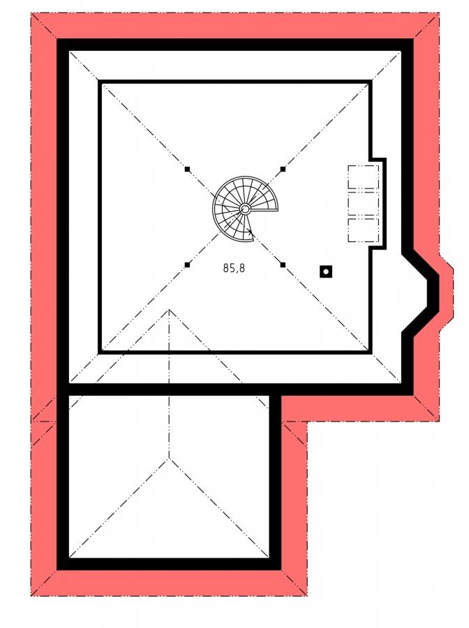 Pôdorys Poschodia - Projekt rodinného domu s jednogarážou a podkrovím. Dom je v tvare do L.