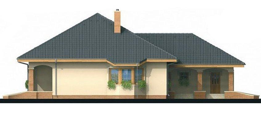Pohľad 4. - Projekt rodinného domu s jednogarážou a podkrovím. Dom je v tvare do L.